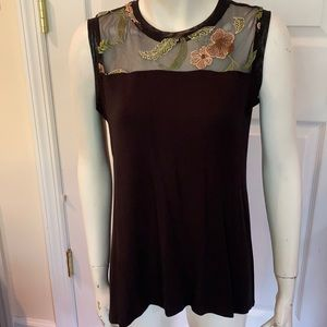 NWOT Sheer, Embroidered & Solid Sleeveless Top